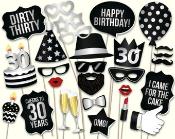 30th birthday photo booth props: printable PDF. Black and silver. Dirty thirty props. Thirtieth birthday party supplies. Mustache, lips.