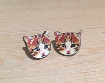 Cat earrings, Cat Stud Earrings, cat jewellery, cat jewelry, laser cut jewellery, wooden jewellery, tabby cat, kitten