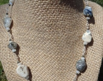 Ocean Jasper Cream and Gray Necklace  #26