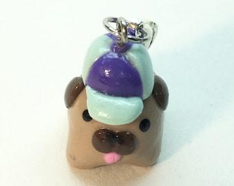 Polymer Clay Baseball Cap Pug Charm