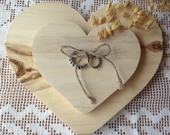 Wooden Rustic Ring Bearer Pillow, Heart Shaped Wood Ring Pillow, Wood Heart Shaped Ring Pillow Bearer Holder. Forest Tree Ring Pillow