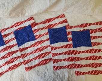 4th of July Placements/set of 4/patriotic/July 4th placements/table/red white and blue/gifts/stars/flag/FREE SHIPPING