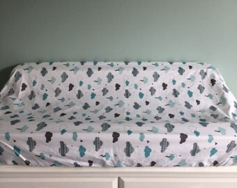 Change Mat Cover / Bassinet Fitted Sheet  /Tribal Clouds /Ready To Ship