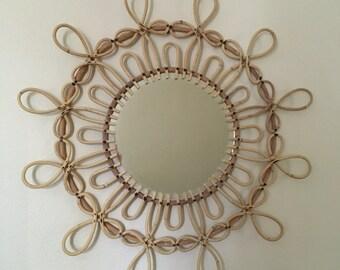 Vintage Boho Rattan Sunburst / Flower Mirror