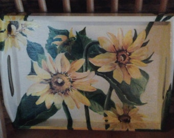 SUNFLOWERS - hand-painted tray