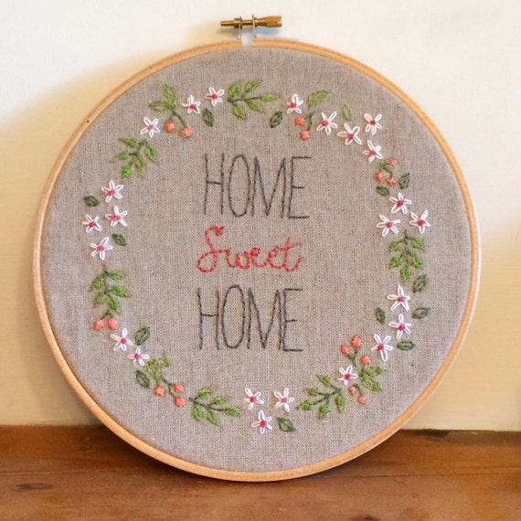 Items similar to home sweet hoop art embroidery
