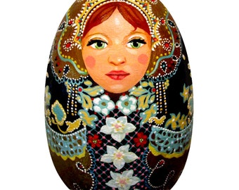 Winter Matryoshka Wood Egg