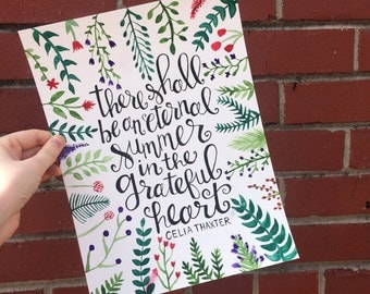 Custom Calligraphy, Handlettered Quote, Original Watercolor, Modern Calligraphy, Personalized Lettering, Greenery Design, Cursive Quote Art