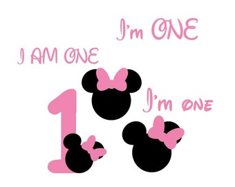 Minnie Mouse SVG File, Mickey Mouse EPS File, I am One SVG, Svg 1 year Birthday Cuttable Design, Cricut, Silhouette Disney Dxf