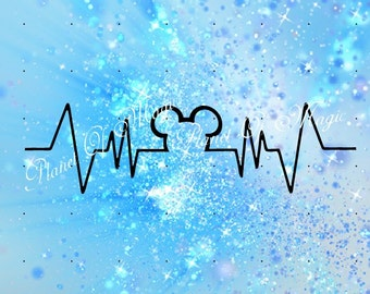 Heartbeat SVG, Mickey Mouse Heartbeat Svg File, Heartbeat DXF, EKG Svg, Cricut Digital File, Silhouette Dxf, Cutting file