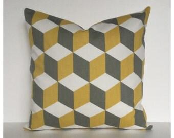 Saffron & Grey Cushion Cover 40cm x 40cm Modern Bolster Pillow Cover, Accent Pillow Cover