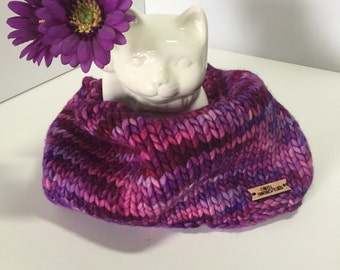 Slouchy Purple/Pink cowl, knit cowl