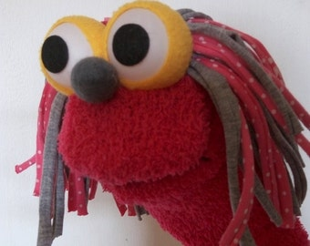 Fancy pink sock puppet , Moving mouth puppet ,  hand puppet , Therapy and Educational Puppet .