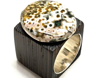 wooden ring with jasper