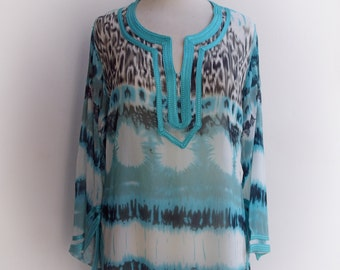 Moroccan chiffon tunic / caftan with braid detail