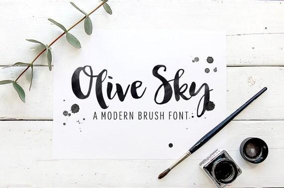 Modern brush font olive sky script download by