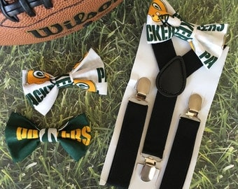 Suspender & Bow tie Set/ Green Bay Packers Bow tie/ Green Bay Bow tie/ Packers Bow tie/ Football/ NFL Football/ NFL Bow tie