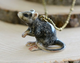 Hand Painted Porcelain Rat Necklace, Antique Bronze Chain, Vintage Style Mouse, Ceramic Animal Pendant & Chain (CA091)