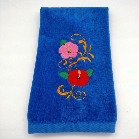 Items Similar To Beach Theme Hand Towel Nautical Bathroom Towel Hibiscus Embroidered Hand Towel