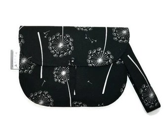 Wedding clutch purse - black and white dandelion - clutch wristlet - removable strap