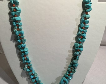 Turquoise magnesite and orange coral bead necklace