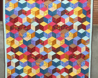 King Size Quilt - tumbling block quilt