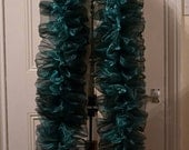 Two Tone Teal and Black Vegan Organza Boa. Great for Burlesque, Drag, Rocky Horror costumes, church fêtes, dress down Fridays etc