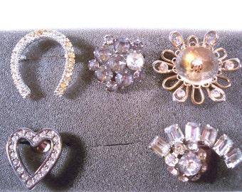 Destash ~ LOT OF 5 ~ Vintage Rhinestone Brooches * LOT146 Brooch Destash, Brooches for Crafts, Jewelry Destash, Assemblage