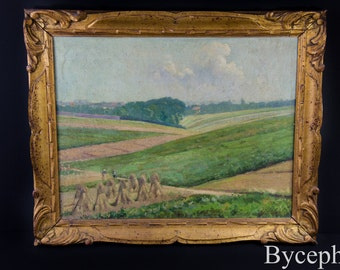 Antique Emile Laloux Listed Artist Animated Landscape Country Farming Oil on Canvas Painting Framed