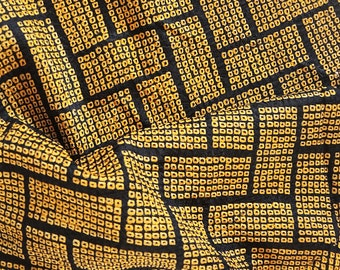 vintage Japanese kimono silk panel, golden yellow on black, shibori
