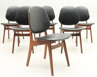 Mid century Modern, Danish Modern teak dining chairs by A. Hovmand-Olsen, Denmark(set of 6)