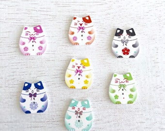 10 Mixed Random Cat Wooden Button,Baby Button,Craft Wooden Buttons,Two Holes Sew Trough Button,Scrapbooking 25x23mm Lot #199