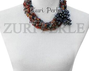 ZPM302 - Handmade Rutilated Quartz Beads Statement Necklace Jewelry