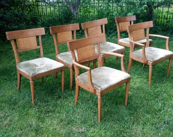 Six Mid Century Modern Dining Chairs Vintage Wood Upholstered Kitchen