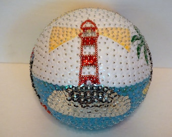 Beach Lighthouse Sequin Ornament Ball