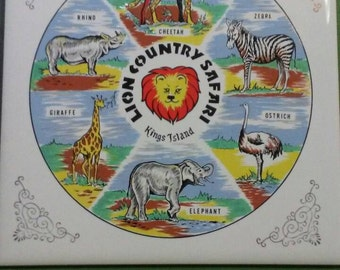 Vintage ceramic souvenir tile/trivet Kings Island