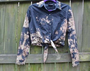 Marbled Studded Crop Shirt