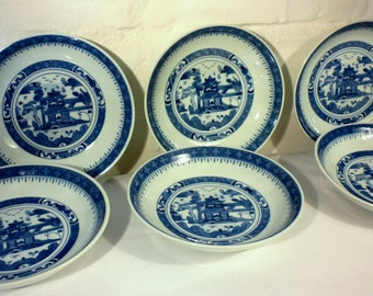 SET OF 6 Blue and White Chinese Ceramic Dining Dishes/Bowls