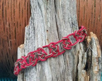 Red and brown anklet natural hemp