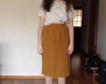1970s Irka Gold Mustard Yellow Wool Gathered Pencil Midi Skirt - medium