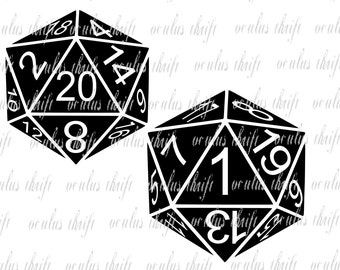 D20 Natural 20 and 1 - Critical Success and Failure - Silhouette cut file