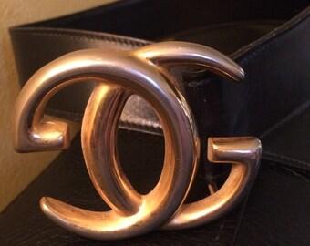 Vintage GUCCI Belt 70s Black Leather Retro Designer HOT!!!