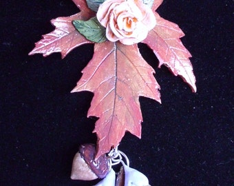 Maple Leaf Polymer Clay Pendant Necklace