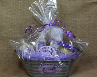 Small Lavender oil, and Goats Milk, Soap and Lotion Gift Basket