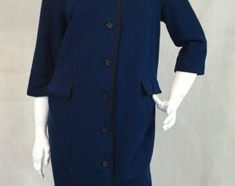 1950s Jonelle Blue Wool Shift Dress Wiggle Button Through Size 16 42