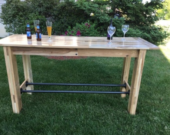 Reclaimed Oak Farmhouse Table, Pub Height Table, Pub Table, Kitchen Table, Dining Room Table, Wood and Metal Table