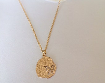 Butterfly Disc Necklace, Circle Necklace, Brushed Disc Necklace, 24K Gold Plated Charm, Gift
