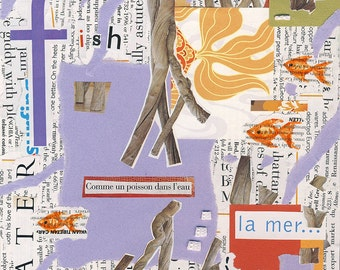 Collage-Comme un poisson dans l'eau-Free Shipping-I feel like a fish in water collage