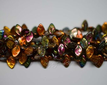 12MMx7MM, Magic Amber, Leaf Beads, Leaves Czech Glass Beads - 1 Strand (Approx 25 Beads)