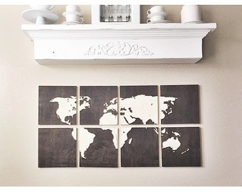 8 panel World Map Art Home Wall Decor with Dark Stain